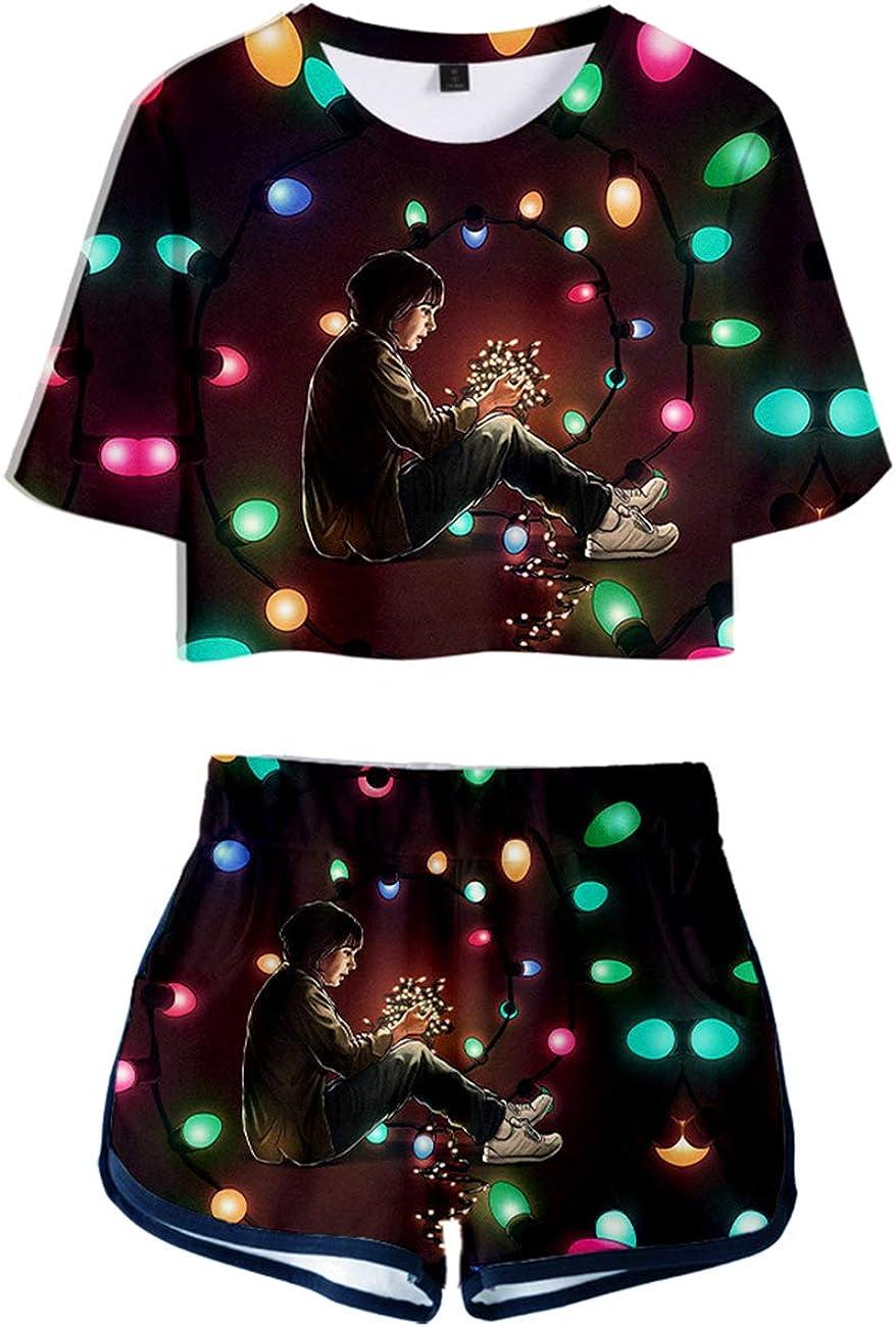 Camiseta y Pantal/ón Corto Stranger Things Adolescente Chica Stranger Things Impresi/ón 3D Camiseta de Manga Corta Verano Conjunto Deportivo Top y Pantalones Cortos para Ni/ña y Mujere