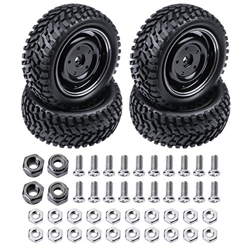 4PCS HobbyPark 76mm 1/10 RC Rally Racing Tires and Aluminum Wheels Sets with foam Inserts 12mm Hex Hub Model Car Replacement