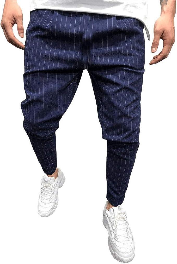 F/_Gotal Men/'s Casual Plaid Loose Pants Elastic Waist Sports Running Jogger Pants Trouser with Pockets Mens Sweatpants