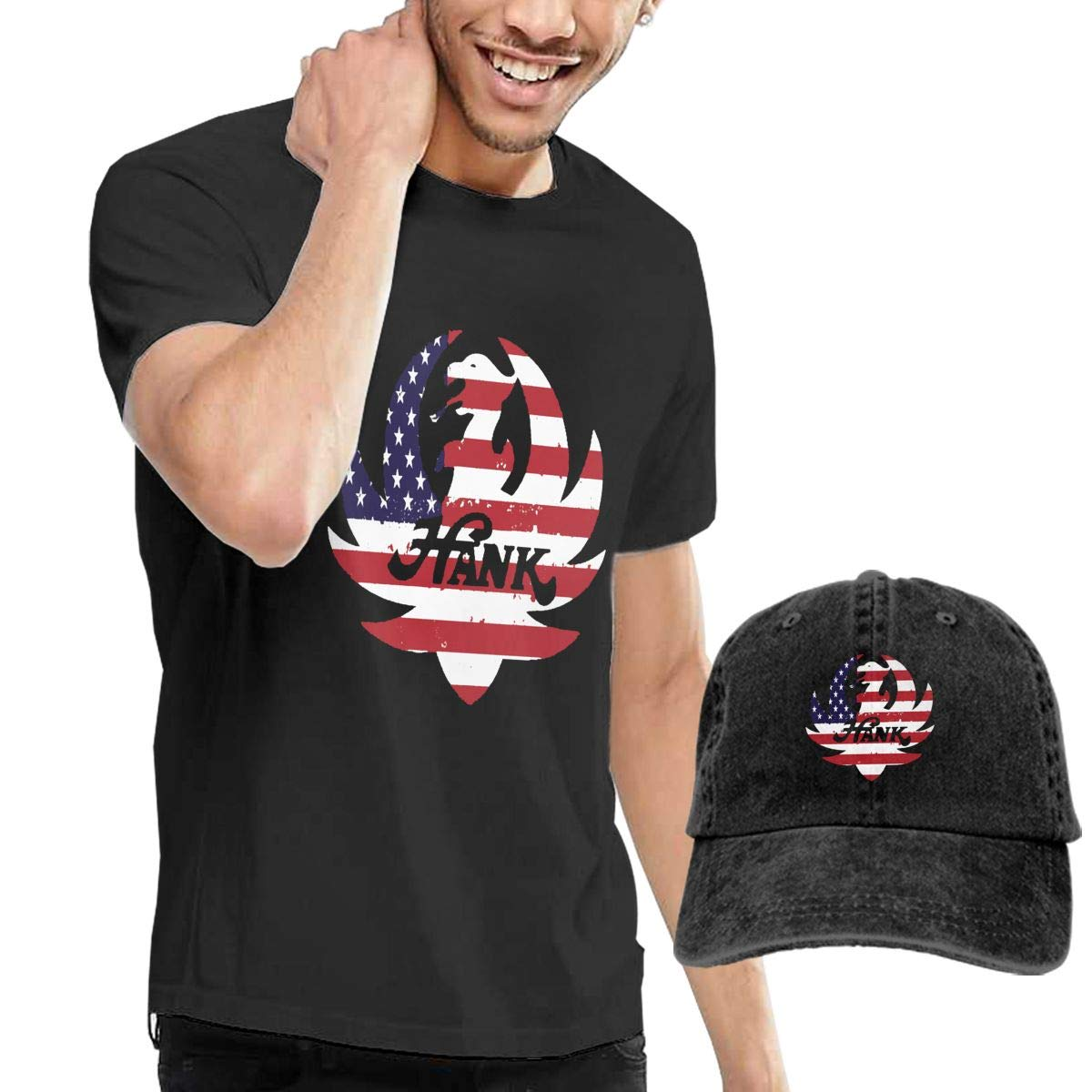 2Pcs Mens Casual Hank Williams Jr Tee Shirts Short Sleeve O-Neck Cotton T Shirt Tops for Boys Men Plus Size Tshirt Hat