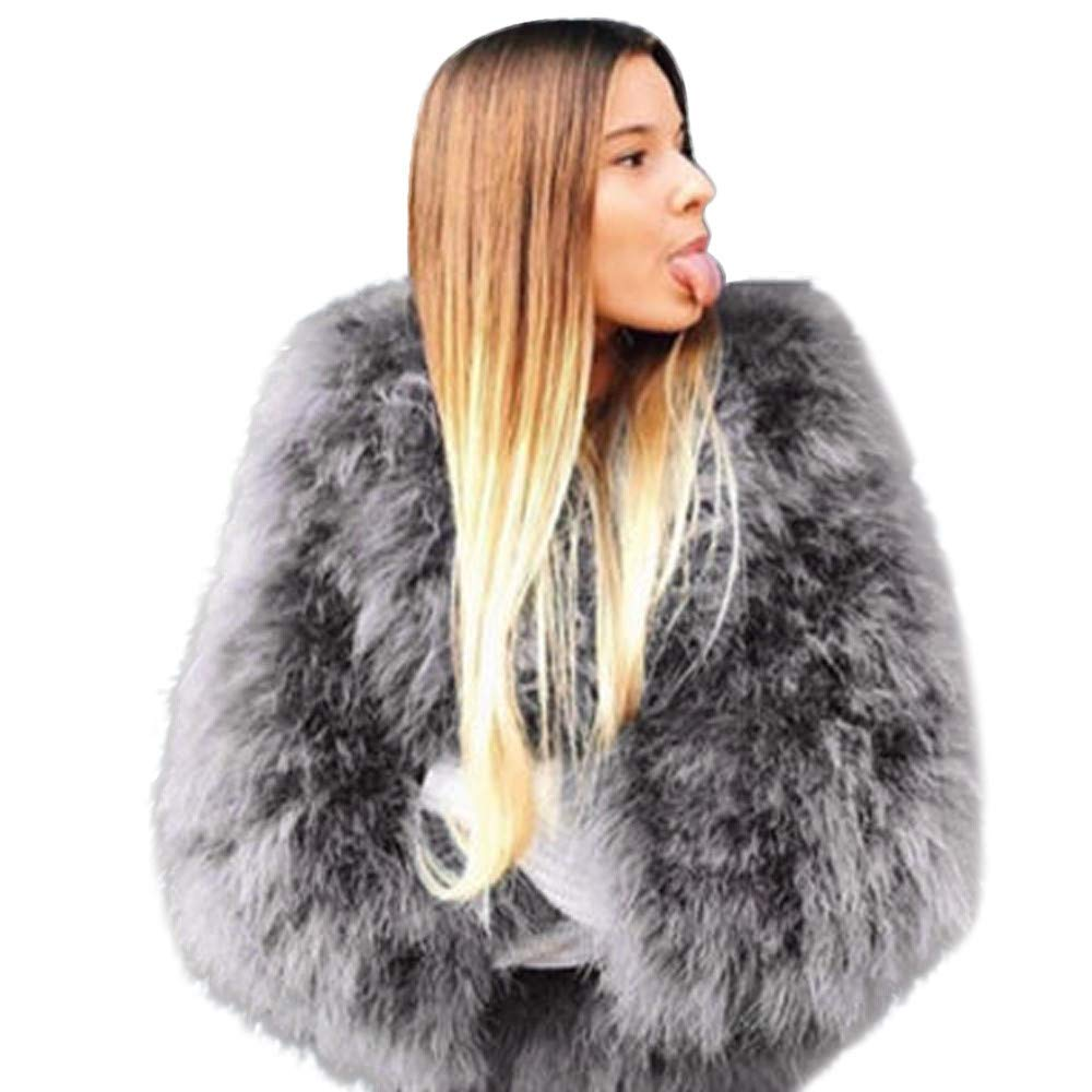 Jinjiums Women Jacket, Clearanc Faux Fur Ostrich Feather Soft Fur Coat Jacket Fluffy Winter Xmax Velvet Jacket Plus Size