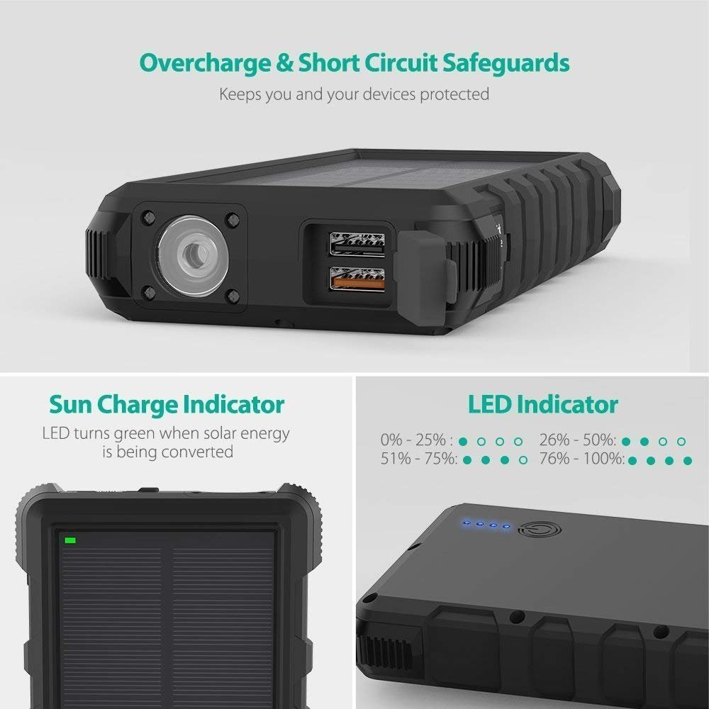 Solar Portable Charger Ravpower 25000mah Power Bank With Micro Usb Battery Overcharge Protection Electronic C Inputs Quick Charge