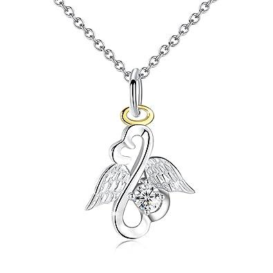 f5a004791dd1 Plata de Ley Love corazón ángel alas Colgante Collar Joyas Para Mujeres  cumpleaños regalos para novia hija  Amazon.es  Joyería