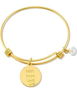 DiamondJewelryNY Double Loop Bangle Bracelet with a Heart//Confirmation Charm.