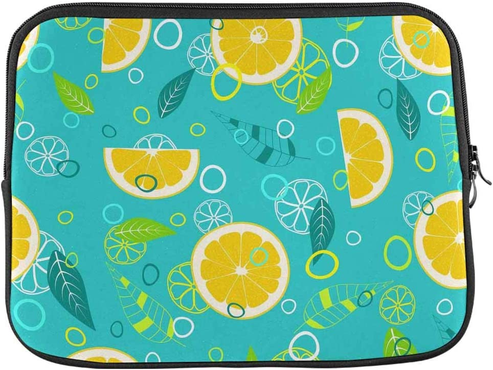 INTERESTPRINT Laptop Neoprene Protective Bag Juicy Fruit Lemon Leaves Circles and Citrus Notebook Protective Sleeve Case Cover 13 Inch 13.3 Inch