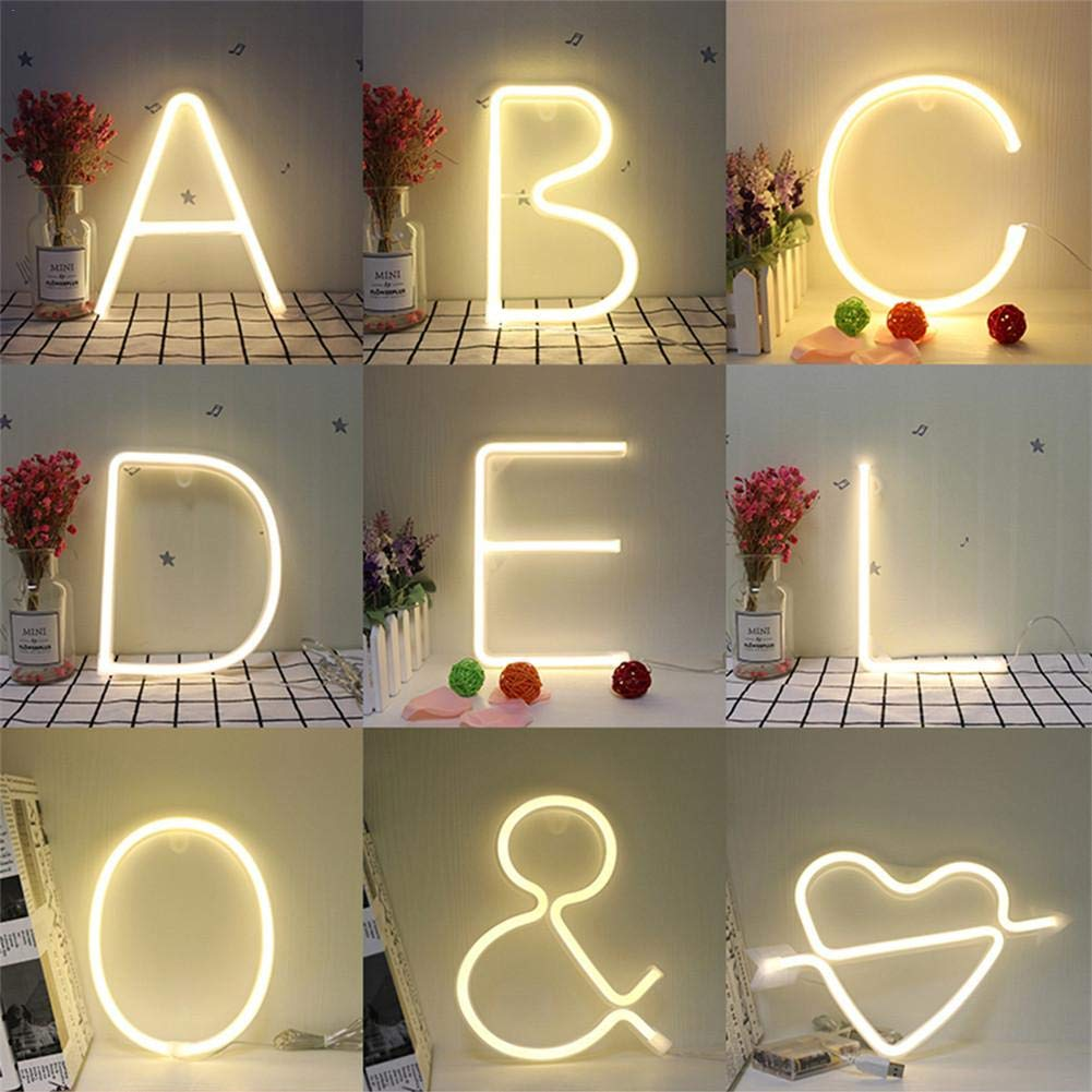 Supertop LED Alphabet Numbers Lights Night Light Neon Alphabet Lamp 26 Letters Lamp for Birthday Wedding Party Bedroom Wall Hanging Decor Light