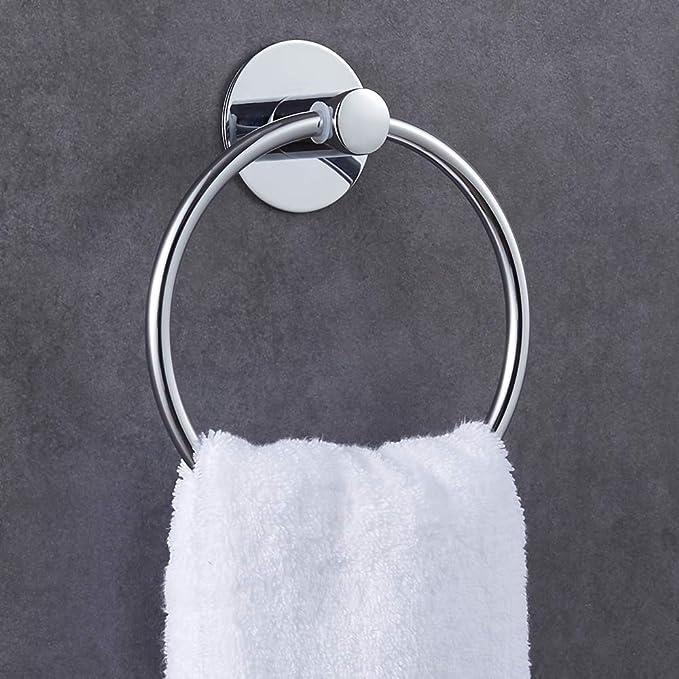 GERUIKE Anilla Toalleros Toallero de aro de acero inoxidable adhesivo con acabado pulido Sin clavos Resistente al óxido Montaje en pared sin taladro: ...