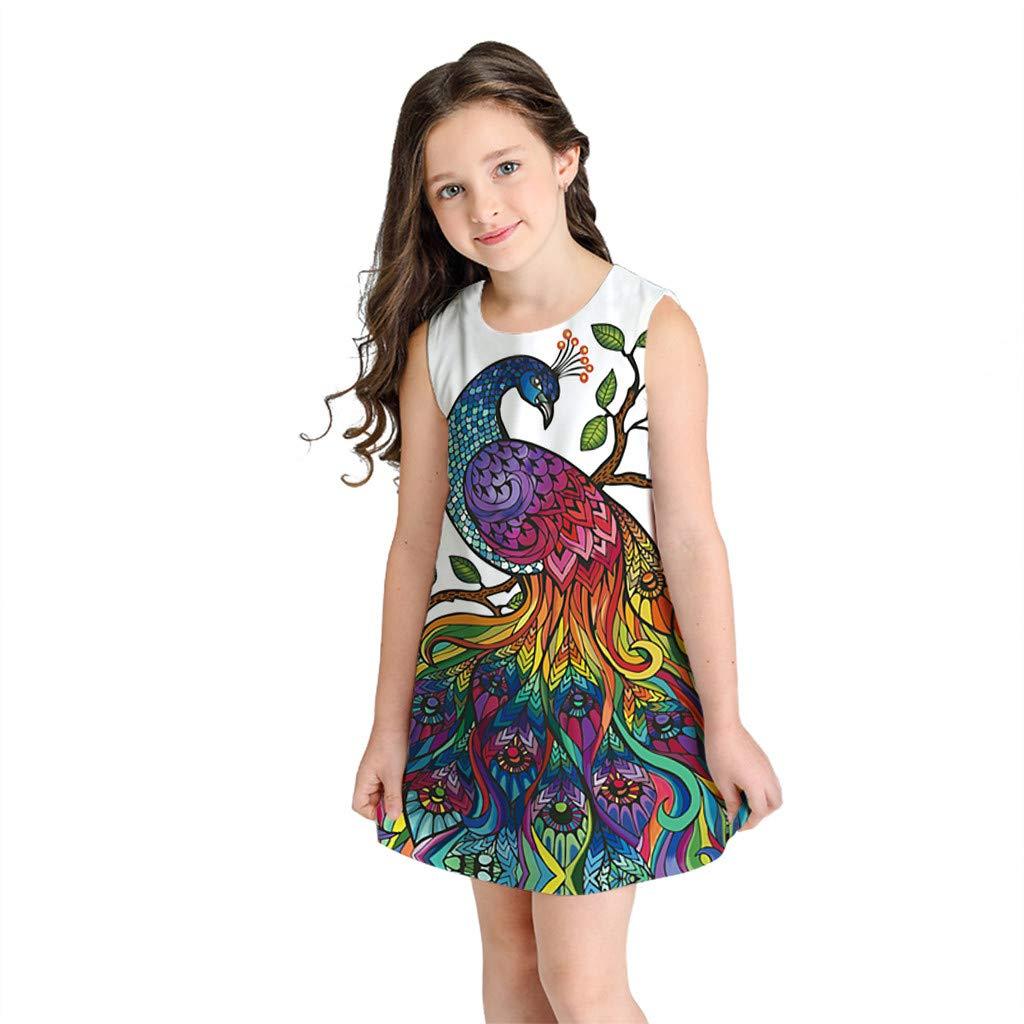 pengchengxinmiao Kids Teen Girls 3D Cartoon Print Summer Dress Party Beach Casual Sundress Sleeveless o-Neck Soft Comfort Tank Dress (G, M)