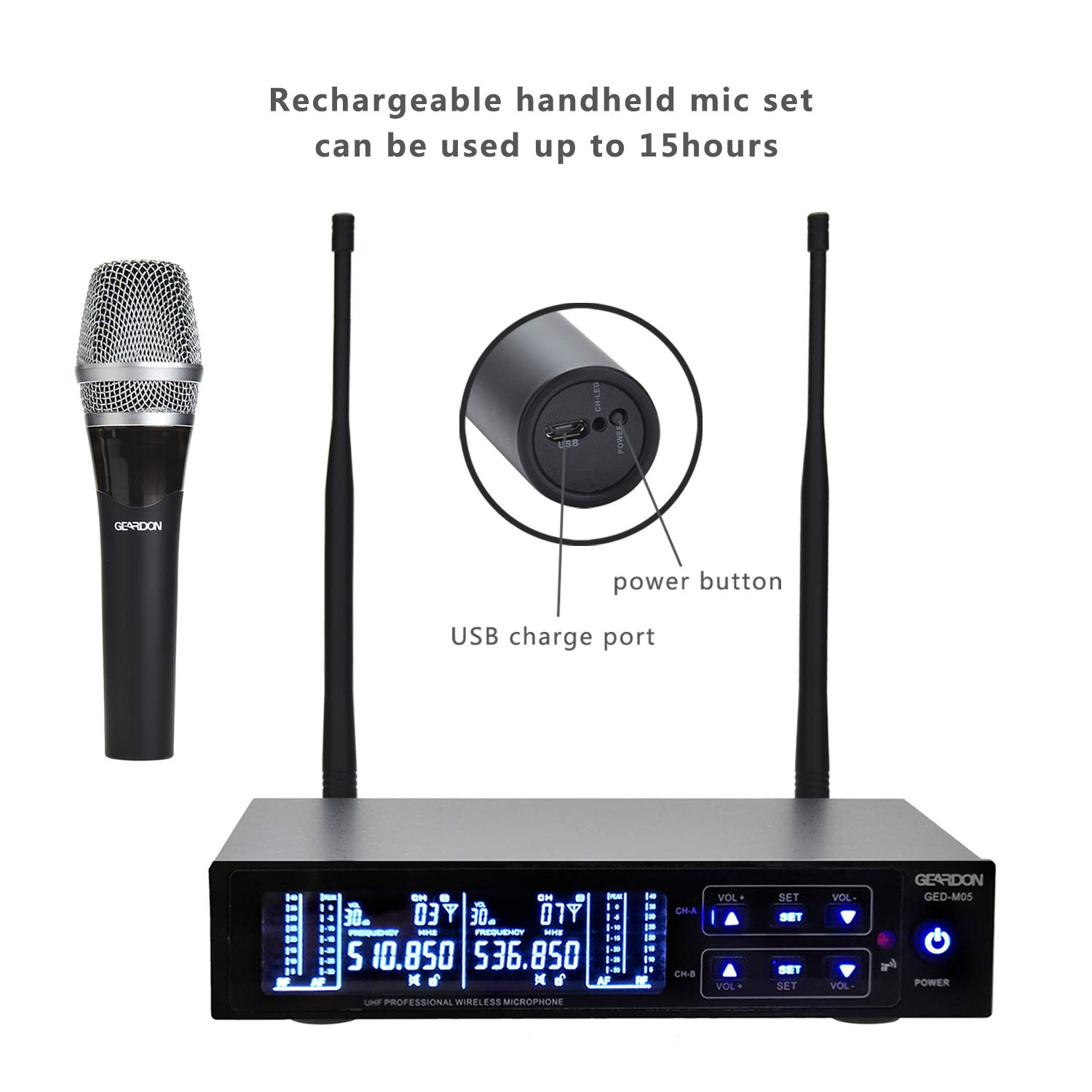 Geardon Pro Rechargeable Dual Wireless Microphone System, 200 Channel UHF Wireless Mic Set with 250ft Long Range Professional Performance, 12hours Battery Continuous Use for Church/Karaoke/DJ by Geardon Pro (Image #3)