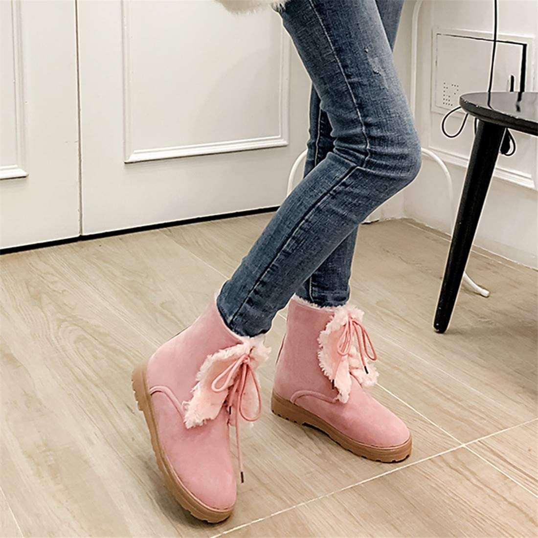 DaoAg Womens Wool Boots Sweet Round Toe Lace Up Platform-Bottom Ankle Snow Boots