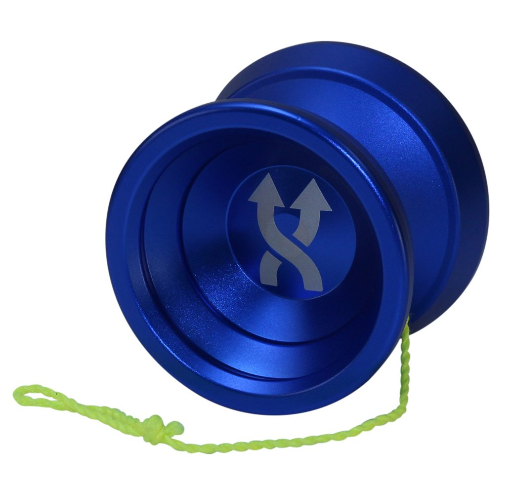 Yoyo King Double Agent Metal Yoyo with Narrow Responsive and Wide Nonresponsive C Bearing and Extra Yoyo String (blue)