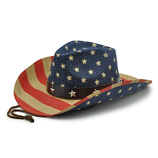 86fe1e2d Men's American Flag Cowboy Hats