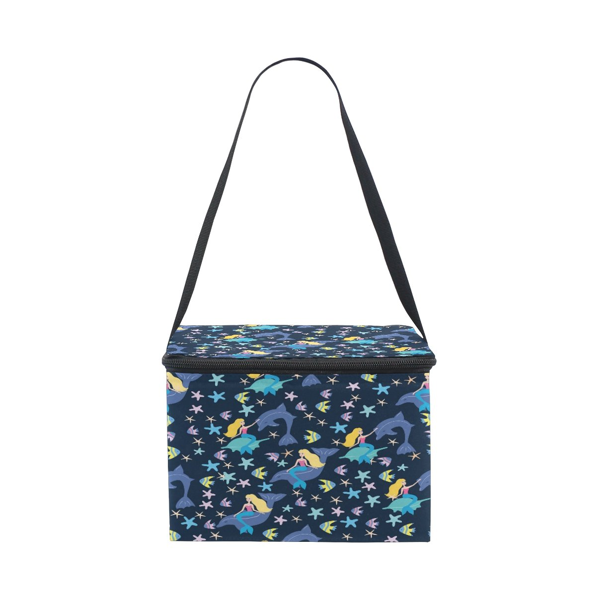ALAZA Mermaid Dolphin Insulated Lunch Bag Box Cooler Bag Reusable Tote Bag Outdoor Travel Picnic Bag With Shoulder Strap for Women Men Adults Kids