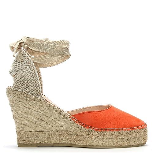 7160f8f8118 Daniel Marken Orange Suede Wedge Espadrilles: Amazon.co.uk: Shoes & Bags
