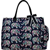 Cheap Floral Elephant Print Quilted Over Night Shopping Tote Bag
