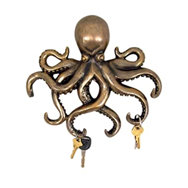 Decorative Octopus Bronze Finish Key Holder Wall Decor, 11 Inch