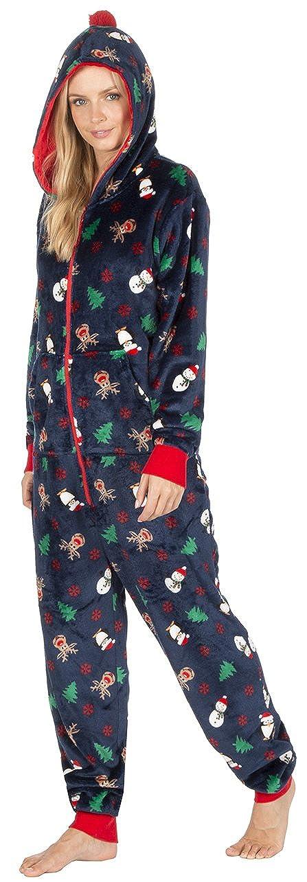 Frauen Damen WEIHNACHTEN Xmas Onesie Jumpsuit Strampelanzuge Strampler Schlafoverall Ganzkorperpyjama Dunkel Blau oder Rot XS S M L XL