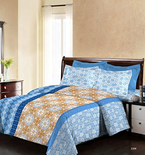 Bombay Dyeing Engracia 144 TC Cotton Double Bedsheet with 2 Pillow Covers – Blue
