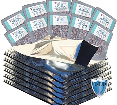 Quart 5 Mil Premium Century Mylar bags with 300cc oxygen absorbers in 10-packs (100) with PackFreshUSA() LTFS Guide (Film 12 Exposures)
