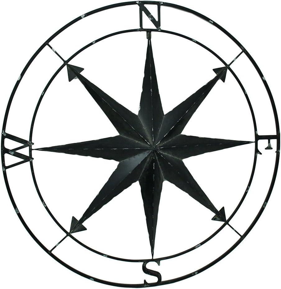 Zeckos Black Indoor Outdoor Metal Compass Rose Hanging Wall Decor 39.5 Inch Diameter