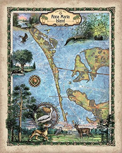 Amazon Com Great River Arts Anna Maria Island Map Wall Art Print