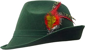 2f318cfb2d82fd Essence of Europe Gifts E.H.G German Hunter Green Hat Fedora with Edelweiss  & Feather for Men