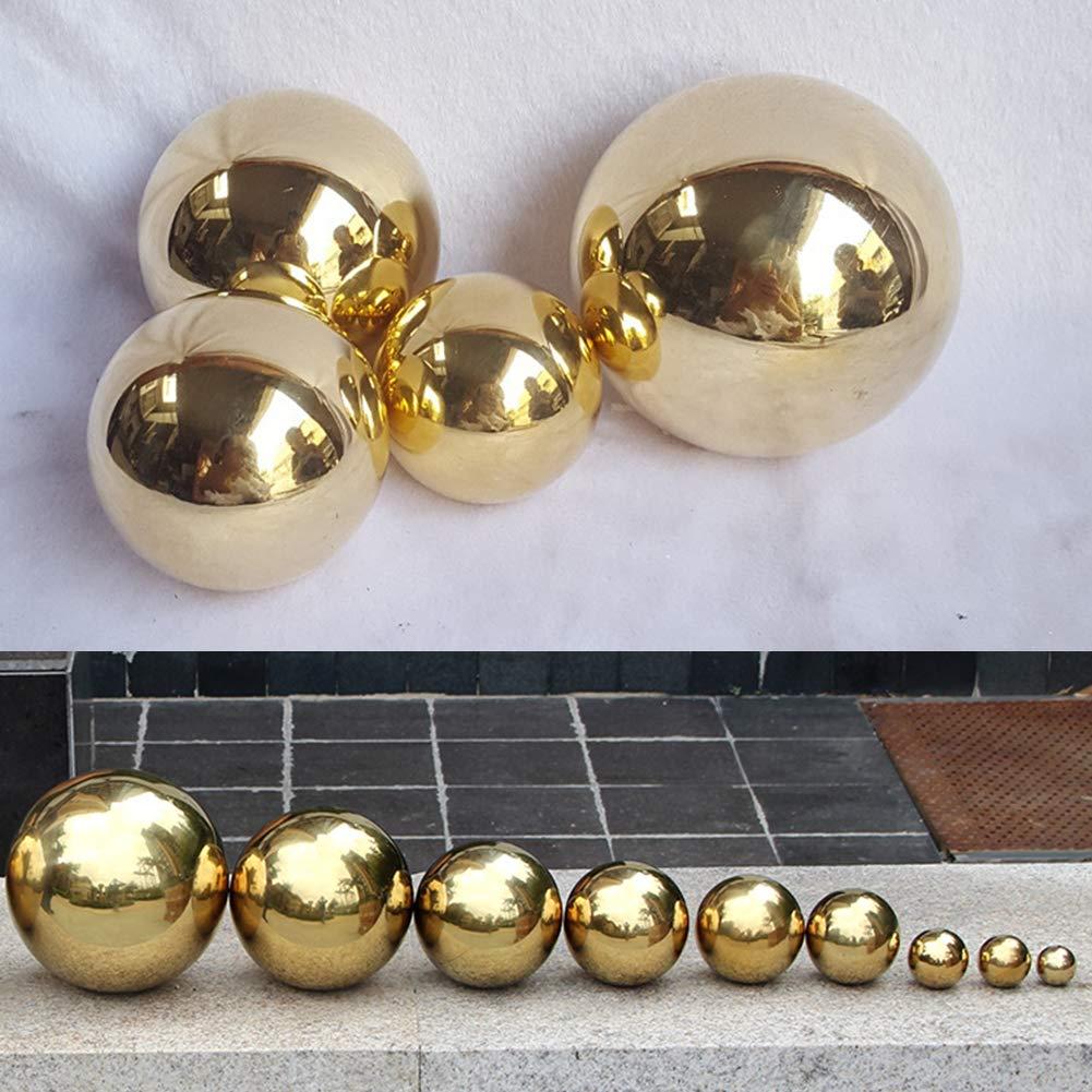 Yunhigh Gazing Ball, 4.72 inch Stainless Steel Gazing Ball Mirror Ball Sphere Hollow Decorative Metal Golden Ball Tabletop Home Garden Ornament