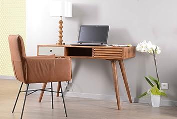 Vintage grey bureau scandinave tiroirs et une niche meuble house