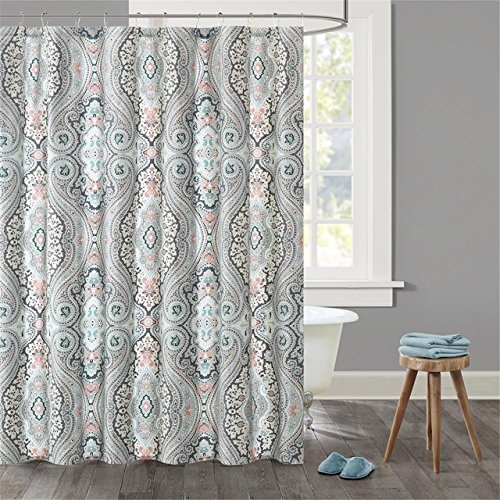 Echo Design Sterling Cotton Printed Shower Curtain Deep Gree