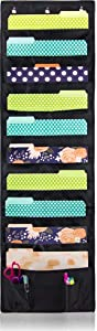 Cascading Hanging File & Folder Holder - Organizer for Office Wall, Home & School– Each File Includes: 10 Deep Pockets, 2 Small Pockets for Accessories & 3 SS Hooks, Storage Pocket (Single Unit)