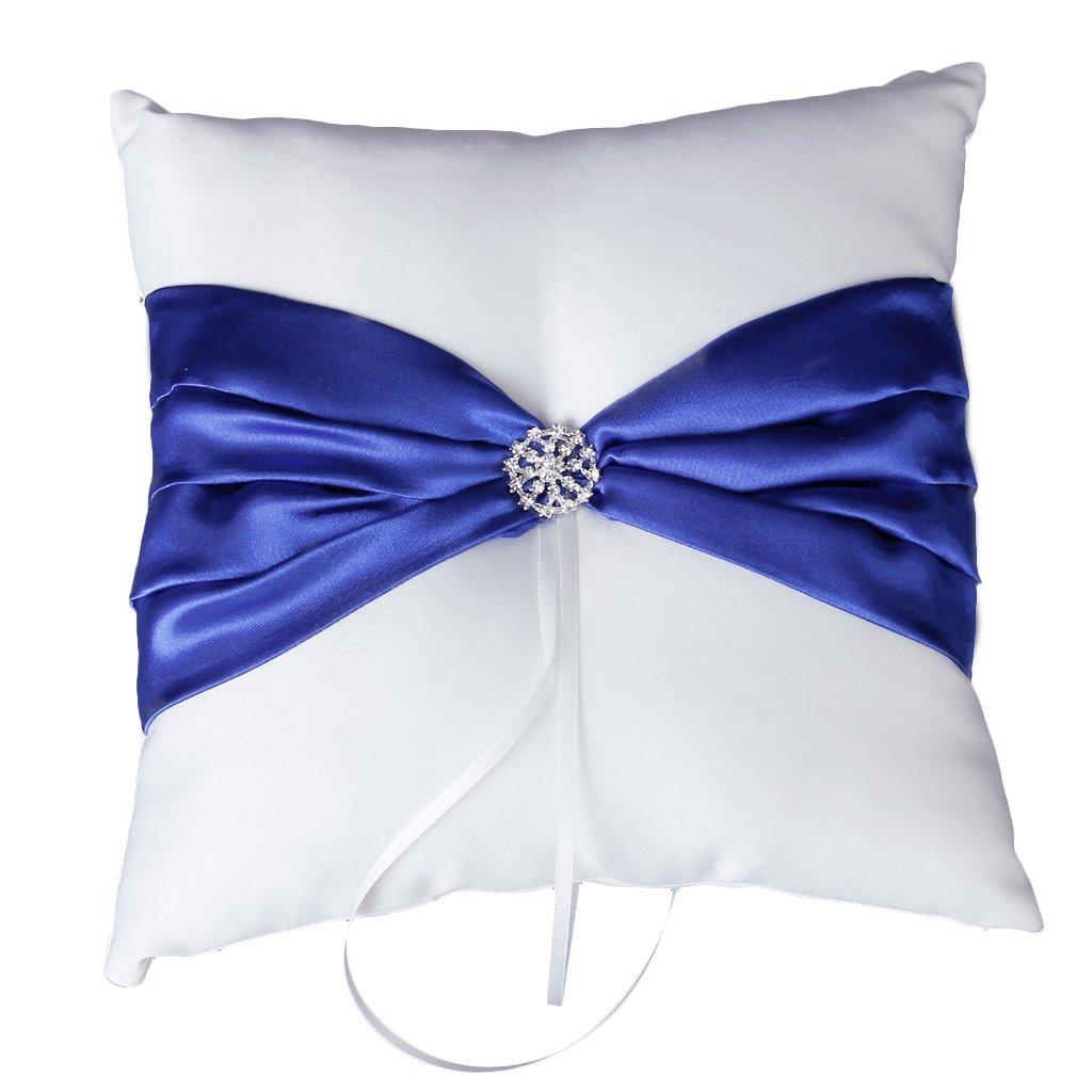 SODIAL(R) Ceremonie de Mariage Porteur Coussin de l'Anneau de Mariage de Satin Blanc avec Decor de Ruban Bleu Royal et Strass 025012