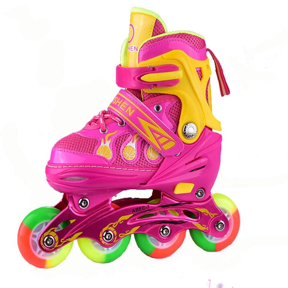 ローラースタータースケートで調整可能なインラインスケート子供男の子と女の子のための楽しい点滅ローラースケート - 2色と3サイズで利用可能。,Blue,M B07PSMXSZ5 L|Red Red L