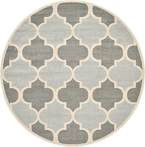(Unique Loom Trellis Collection Moroccan Lattice Light Gray Round Rug (8' 0 x 8' 0))