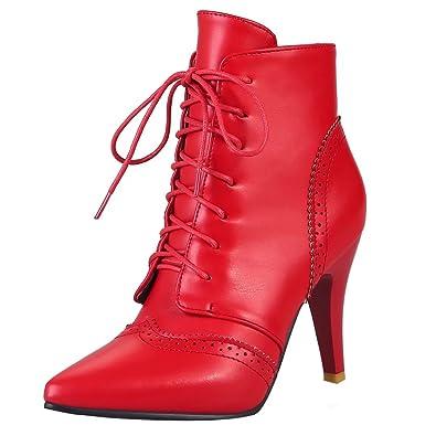 AIYOUMEI Damen Spitz Zehen Stiletto Stiefeletten mit 8cm Absatz Winter High  Heels Schnürstiefeletten: Amazon.de: Schuhe & Handtaschen