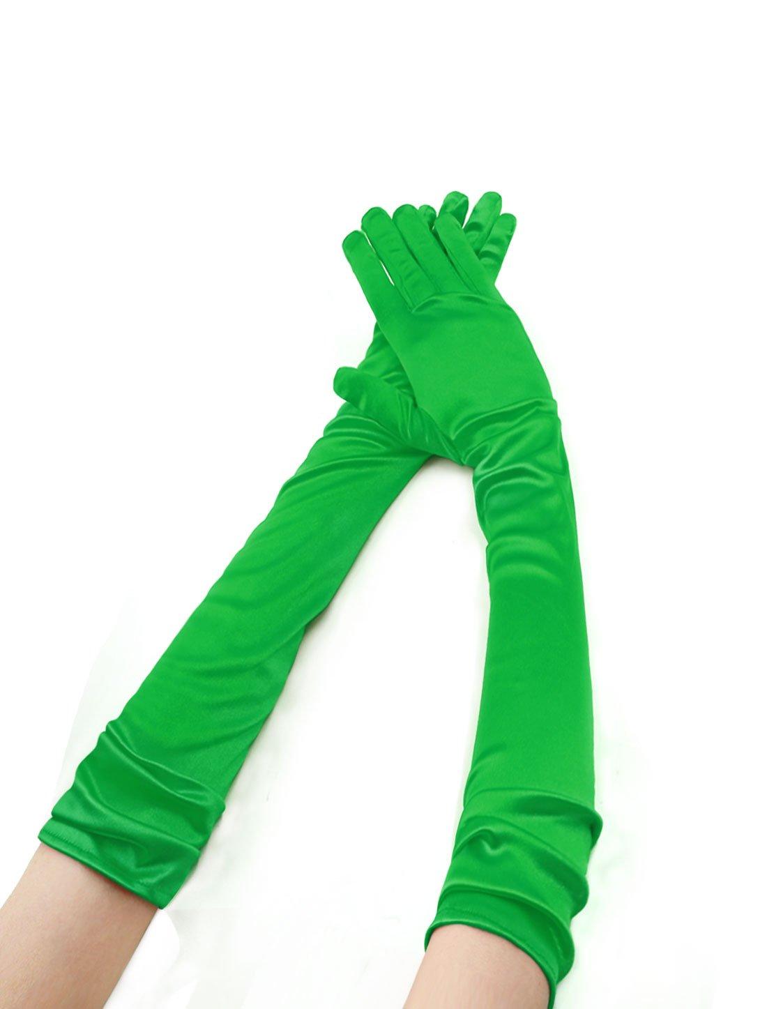 Allegra K Women Stretchy Opera Length Full Finger Gloves Pair Green a16012100ux0023