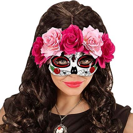 Net Toys Augemaske Sugar Skull La Catrina Maske Mit Rosen Pink Rot