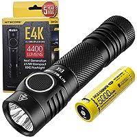 Nitecore E4K Rechargeable Flashlight - 4400 Lumen LED - High Power Torch for EDC - IP68 Waterproof ([ USB-C 21700…