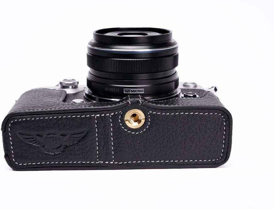 Handmade Genuine Real Leather Half Camera Case Bag Cover for Olympus PEN-F Black Bottom Opening Version