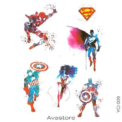 Tatuaje Temporal Super héroe Spiderman Superman Wonder Women ...