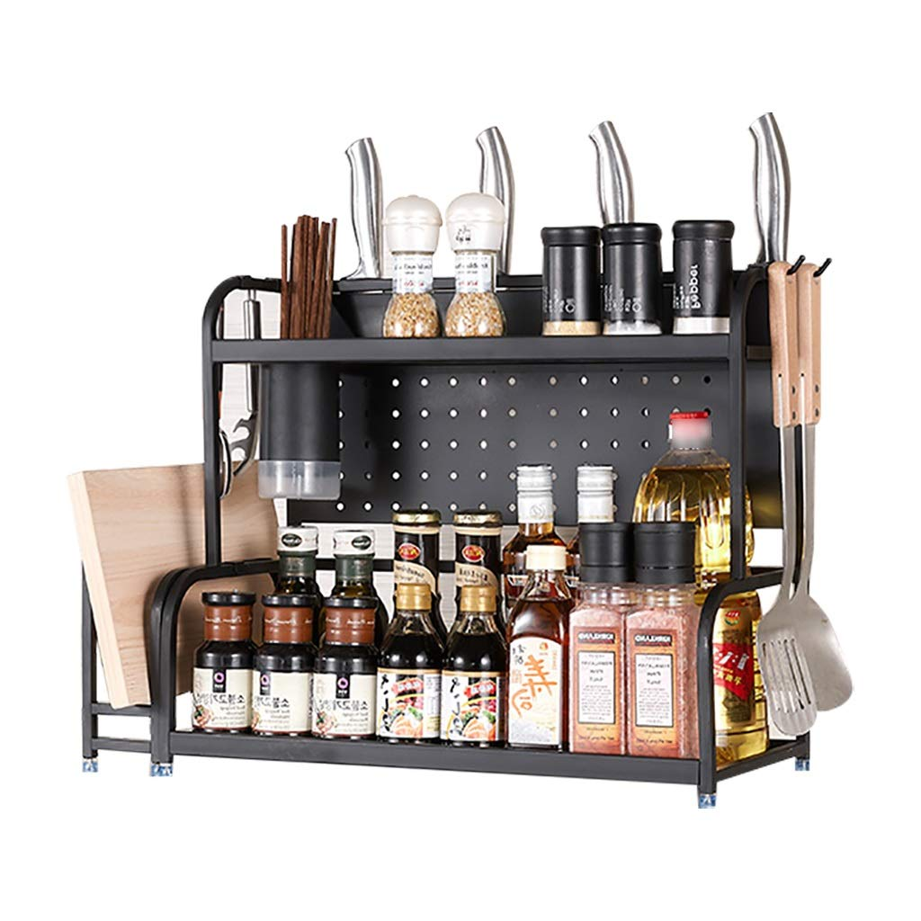 Kitchen Shelf Kitchen Organizer Microwaves Kitchen Rack Metal Material Hook Design Guardrail Design Not Hurting People Large Capacity Not Easy to Accumulate Water Gift for Wife Kitchen Shelf