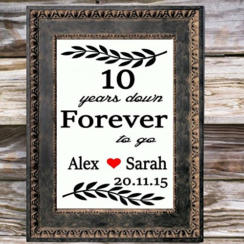 10 Years Personalized Canvas Print   First Wedding Anniversary gift