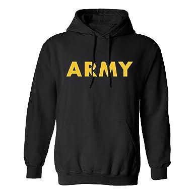 1ccf6b78 ZeroGravitee Black Army Hooded Sweatshirt with Gold Print at Amazon ...