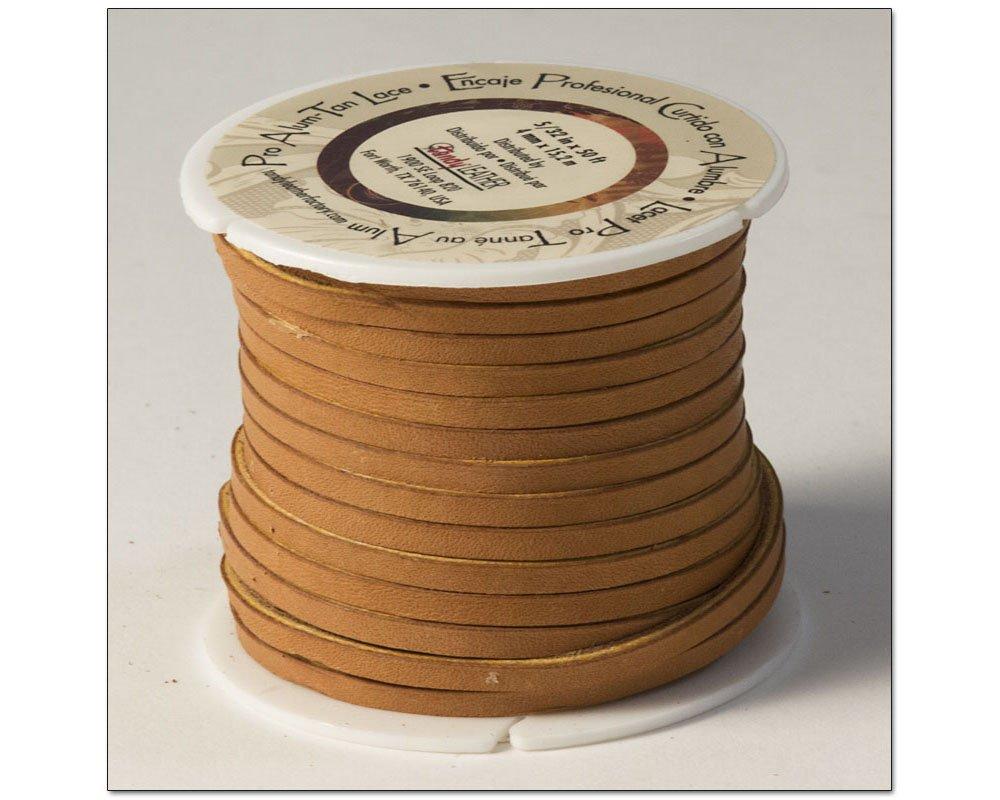 Tandy Leather Pro Alum Tanned Lace 5/32'' x 50 ft (4mm x 15.2 m) Tan 5058-02