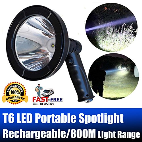 Handheld Searchlight Rechargeable LED Spotlight Portable 5 Inch 2500 Lumens Super Bright 800m Long Light Distance Built-in Battery for Outdoor Hunting Security Fox Rabbit Lamping Patrol