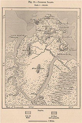 Amazoncom Cayenne Island French Guiana 1885 old map antique