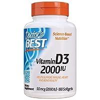 Doctor's Best Vitamin D3 2, 000 IU, Healthy Bones, Teeth, Heart & Immune Support...