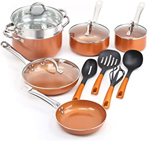 Roll over image to zoom in SHINEURI 14 Pieces Nonstick Ceramic Copper Cookware Set - 8/9.5 inch Fry Pans and Kitchen Cooking Utensils, Sauce pan