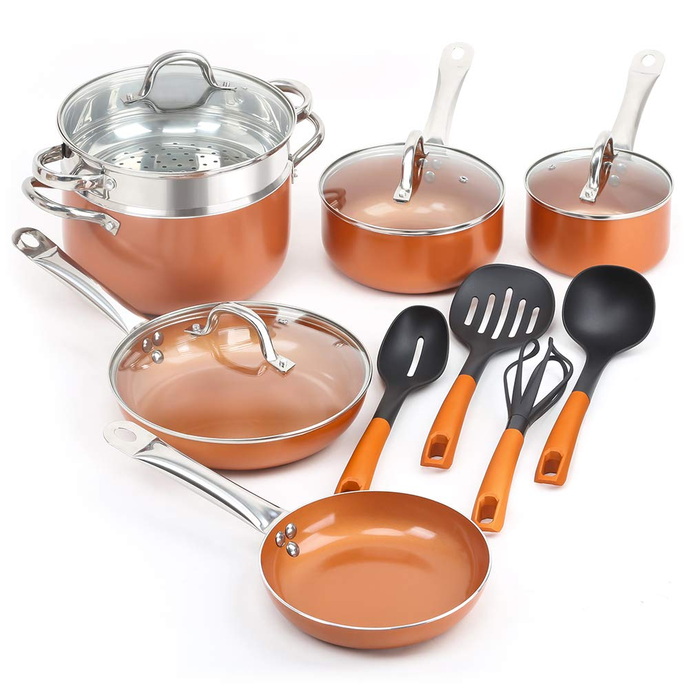 SHINEURI 14 Pieces Nonstick Ceramic Copper Cookware Set - 8/9.5 inch Fry Pans and Kitchen Cooking Utensils, Sauce pan and Stainless Steel Steamer & Glass lid for Induction, Gas, Electric & Stovetops