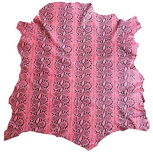Pink Leather Hide - Snakeskin Printed Finish - Quality Craft DIY Material - Spanish Full Skins - 6 sq ft - 2 oz. avg Thickness - Soft Genuine Lambskin Fabric- Upholstery Home Décor Supply