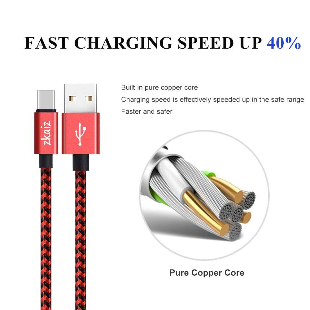 Zkaiz Cable USB Corto Tipo C (4 unidades, 0,3 M)USB C a USB 3.0, Cable de Carga Rápida y Sincronización de Datos para Todos los Dispositivos de Puerto USB C- Rojo y Negro